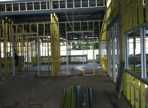 Looking into the future shared learning space where one IWB will go.